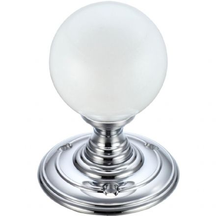 Fulton & Bray FB302CP Frosted Glass Ball Mortice Knob Plain Polished Chrome